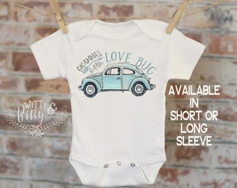 Gramma's Little Lovebug Onesie®, Gift From Grandma, VW Beetle Clothes, Cute Baby Bodysuit, Gift From Nana, Gift for Grandbaby - 243G