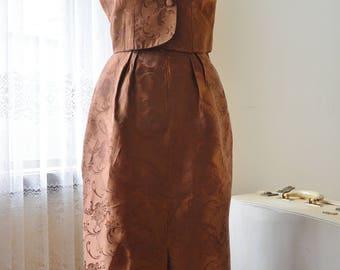 Vintage 50's Brown skirt blouse suit twin set