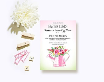 Spring Floral Easter Invitations Easter Egg Hunt Easter Lunch Dinner Party Printed Pastel Invitations Watercolor Pink Flowers Digital Invite
