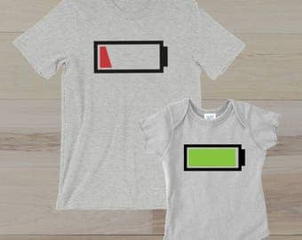 Mommy and baby Shirts, Matching shirt set, Battery Level Matching shirts, Battery Shirts, Low Battery, Energy Levels, Funny Matching Shirt