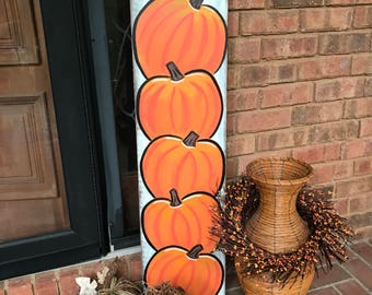 Fall Porch Sign, Vertical Porch Sign, Happy Fall, Distressed, Pumpkin sign, Hand painted, Farmhouse Décor, Rustic Sign, Thanksgiving Decor