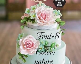 Wedding Cake Topper Letter cake topper M, Unique Cake Topper, Monogram Cake Topper, Initials Cake Topper Single Letter, Personalised Topper