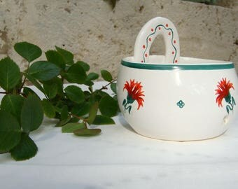 kitchen decor white ceramic pulls-string red and green floral eyelet