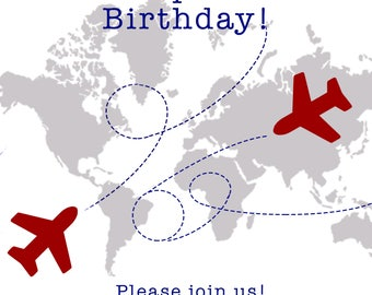 Around the World Party Invitation, Boy Birthday Party, Airplane Birthday, Airplane Party