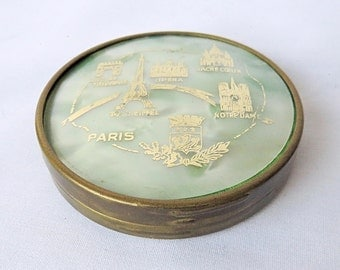 Vintage French Powder Box, with Beautiful French Building decor