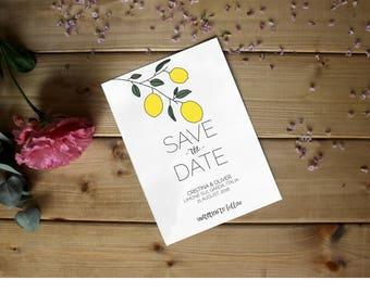 Modern romantic watercolor save the date, customizable digital printable, hipster lemon plant