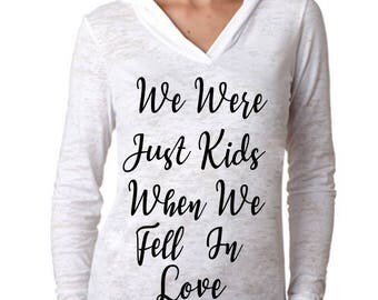 "Ed Sheeran ""We Were Just Kids When We Fell In Love"" Hoodie -*PREMIUM QUALITY* Vinyl Pressed Next Level Burnout Hooded Pullover"