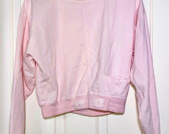 90s Pink Thick Collared Mini Front Pocket Cropped Pullover Sweatshirt Women's Size Small