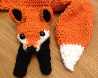 Fox scarf, Animal scarf, Fox neckwarmer