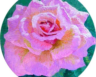 Pink Rose Full Bloom Oil on Canvas