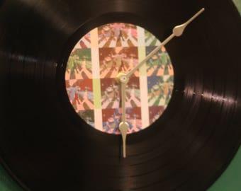 The beatles inspired vinyl record clock