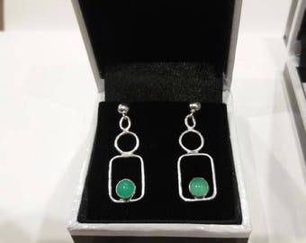 Earrings Chrysophrase and sterling silver