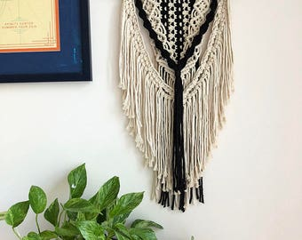 Black and White Macrame Wall Hanging on a Foraged Branch, Woven Wall Hanging, Boho Hippie Tapestry, Bohemian Decor, Home Decor, Statement