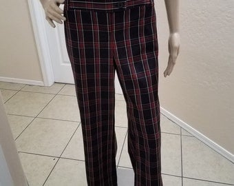 1970's Style Wide Leg, Red Plaid, Boot Cut Pants Hipster, Hippie, Disco, Rockabilly