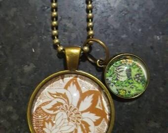 Floral Antique Bronze Pendant Necklace
