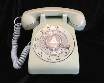 Western Electric Electric 500 Model Desk Rotary Telephone - Vintage Phone - Light Green - A Beauty
