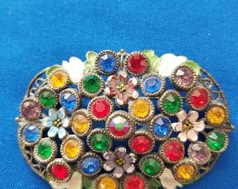 Enamel Floral Brooch with Colored Rhinestones