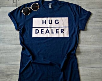 Hug Dealer - Hugs, Ladies, T-shirt, Navy, Rose Gold, Vinyl, Mom Life