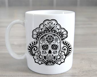 Sugar Skull - Big Coffee Mug Unique Coffee Mug Coffee Lover Gift Gift for Teacher Holiday Gift Cheap Christmas Gift Custom Mugs Gift Idea
