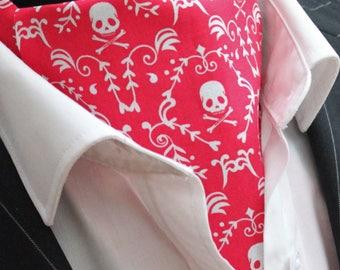Cravat Ascot Steampunk Gothic/Punk Skull Cravat 3 & Hanky.Premium Cotton UK MADE