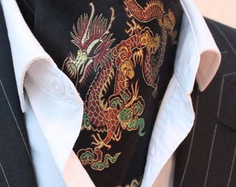 Cravat Ascot. UK Made. Black & Gold Chinese Dragon Cravat.