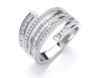 Sterling Silver Baguette & Round Cut Cz Stone 5 Band Art Deco Cocktail Ring