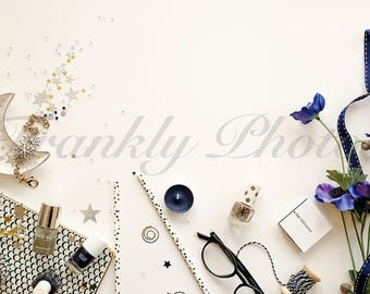 Navy, Black & Silver Lifestyle Stock Image / Stock Photo / Styled Stock Photography / Styled Desktop / Flatlay /Frankly Photos File #10