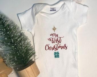 Short Sleeve My First Christmas Onsie