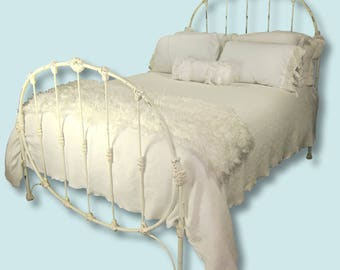 Antique Cast Iron Full Shabby Chic Bed Wrought Metal