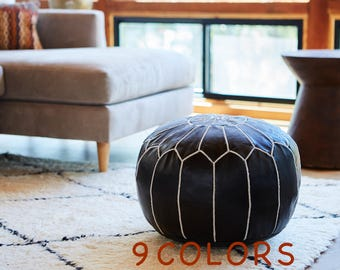Moroccan Pouf, Leather Ottoman Pouffe, Handmade in Morocco, Poufs available in 9 colors, Moroccan Pouffe for Living Room, Decor From Morocco