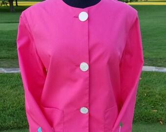 Women's Golf Jacket-Floral Coral