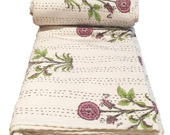 Kantha block print cotton king size bedspread