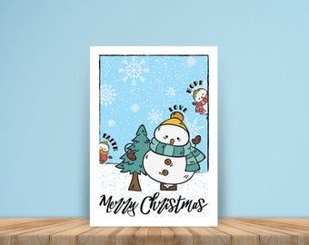 Snowman Christmas poster, christmas printable, christmas Decor, wall decoration, christmas sign, Instant download, JPG