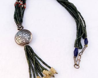 Genuine Dark Green Afghan Jade Carved Bead Necklace with Garnet, Lapis Lazuli, Agate Accent Beads and Silver Tone Accents and Hook Closure