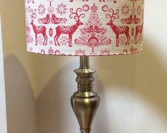Nordic Lampshade, Handmade, Scandi, Hygge, Christmas, Light, Shade, Red, Reindeer, 30cm