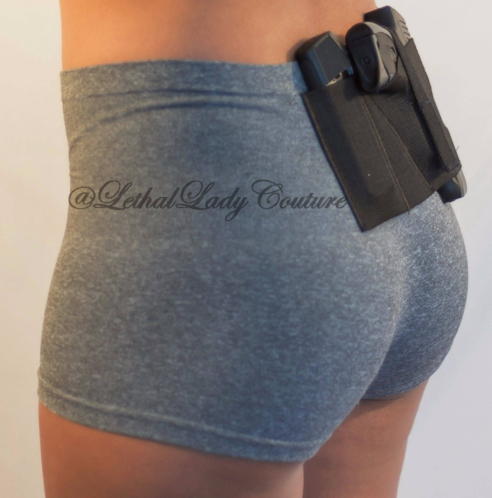 Women's Concealed Carry Gray Boy Shorts with Gun Holster