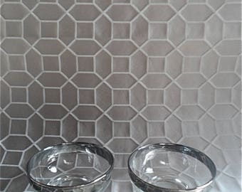 Pair of silver rimmed lustreware bowls