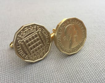 Authentic 3 Three Pence Threepenny Bit Vintage British Coin Cufflinks Free Gift Box and Free Shipping