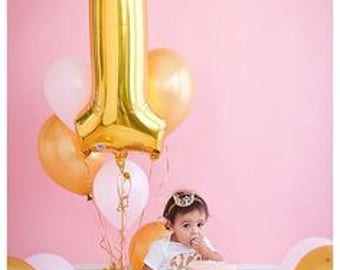 40' 1 Gold Balloon- Giant Gold 1 Balloon- Gold Number One Balloon- Giant Number 1 Balloon- First Birthday Balloon