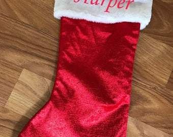 Personlised Embroidered Christmas Stocking