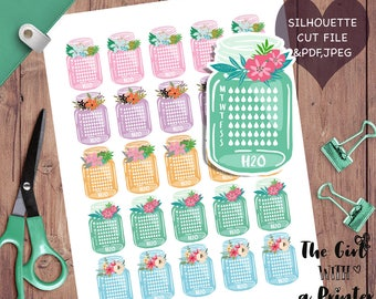 Printable planner stickers, water bottle stickers, hydrate stickers, water stickers printable, water intake stickers, water tracker bottle