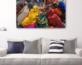 Nepal Hindu Women Canvas Print // Large Canvas Wrap, Travel Photography, Asia Decor Wall Art, Fine Art Photo Print, Hinduism Home Decor