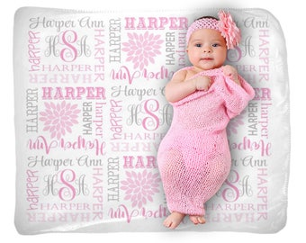 Baby Girl Name Blanket, Swaddle Initial Blanket, Pink Gray Floral Blanket Pillow Set, Personalized Nursery, Newborn Girl Shower Gift
