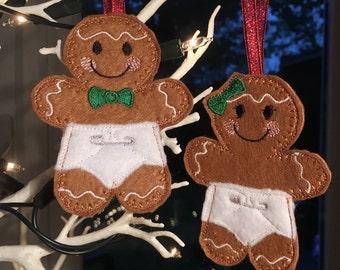 Felt Gingerbread Twin Babies