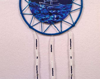 Blue Leather Boat Dreamcatcher