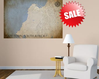 CAPE TOWN Map Print - City Map Art of Cape Town South Africa Poster - Wall Art Gift - Travel Map - Office Home Decor - Home Decor Gift - Art