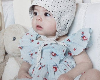 Polka Dot Baby Bonnet, Reversible, baby hat, baby clothes, baby girl clothes, baby boy clothes, baby boy hat, baby girl hat, baby shower