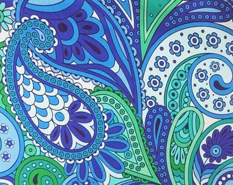 Digital print blue paisley faux printed silk satin fabric 156cm Wide for dressmaking, Decor by the meter YGST -5030