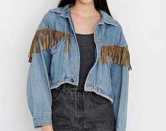 VINTAGE Denim Long Sleeve Retro Jacket