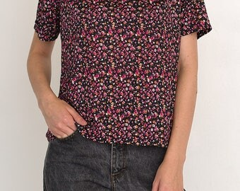 VINTAGE Pink Floral Short Sleeve Retro T-Shirt